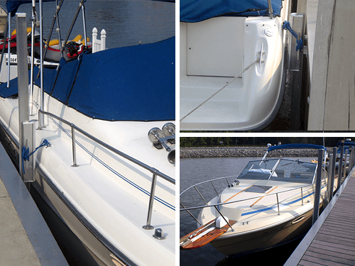 close-up products of Nauti-GLIDE on boat by deck